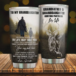 Personalized To My Granddaughter Tumbler Hunting Partners Stainless Steel Vacuum Insulated Double Wall Travel Tumbler With Lid, Tumbler Cups For Coffee/Tea, Perfect Gifts For Birthday Christmas Thanksgiving