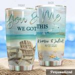 Personalized Beach Tumbler You And Me We Got This Custom Name Gifts For Beach Lovers Beach Girls Summer 20 Oz Sport Bottle Stainless Steel Vacuum Insulated Tumbler