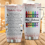 Personalized Best Teacher Tumbler Called To Teach Stainless Steel Tumbler, Tumbler Cups For Coffee/Tea, Great Customized Gifts For Birthday Christmas Thanksgiving, Anniversary