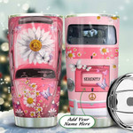 Daisy Pink Hippie Van Personalized Tumbler Cup, Stainless Steel Insulated Tumbler 20 Oz, Coffee/ Tea Tumbler With Lid, Great Gifts For Birthday Christmas Thanksgiving, Unique Gifts For Hippie Lovers