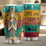 Personalized Custom Name Yoga  Love Yourself Tumbler Stainless Steel Tumbler, Tumbler Cups For Coffee Or Tea, Great Gifts For Thanksgiving Birthday Christmas