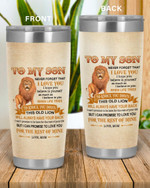 Personalized Family To My Son I Love You, This Old Lion Will always Have Your Back Stainless Steel Tumbler, Tumbler Cups For Coffee/Tea