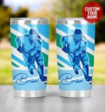 Personalized Ice Hockey Player In 2d Blue Tumbler Cup Stainless Steel Tumbler, Tumbler Cups For Coffee/Tea, Great Customized Gifts For Birthday Christmas