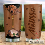 Dachshund Leather Zip Personalized Tumbler Cup, Stainless Steel Insulated Tumbler 20 Oz, Great Gifts For Birthday Christmas Thanksgiving, Perfect Gifts For Dog Lovers, Coffee/ Tea Tumbler