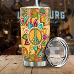 Hippie Peace Tumbler Custom Flower Pattern Stainless Steel Vacuum Insulated Double Wall Travel Tumbler With Lid, Tumbler Cups For Coffee/Tea, Perfect Gifts For Birthday Christmas Thanksgiving
