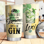 Personalized Gin Lover It's Time To Open The Gin Stainless Steel Tumbler, Tumbler Cups For Coffee/Tea, Great Customized Gifts For Birthday Christmas Thanksgiving