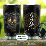 Dark Skull Mandala Personalized Tumbler Cup, Stainless Steel Insulated Tumbler 20 Oz, Coffee/ Tea Tumbler With Lid, Great Gifts For Birthday Christmas Halloween, Unique Gifts For Skull Lovers