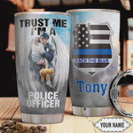 Personalized Police American Tumbler Cup, Dad And Daughter, Back The Blue, Trust Me I'm A Police Officer, Insulated Tumbler, 20 Oz - Gifts For Daughter On Birthday Christmas, Stainless Steel Tumbler