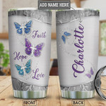 Personalized Butterfly Silver Style Stainless Steel Vacuum Insulated, 20 Oz Tumbler Cups For Coffee/Tea, Gifts For Birthday Christmas Thanksgiving, Perfect Gifts For Butterfly Lovers