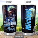 Personalized Eagle Wolf Trucker Ride With Pride Tumbler Cup Stainless Steel Vacuum Insulated Tumbler 20 Oz Great Customized Gifts For Birthday Christmas Thanksgiving Coffee/ Tea Tumbler With Lid