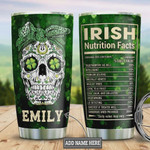 Personalized Irish Skull Girl Stainless Steel Vacuum Insulated Tumbler 20 Oz, Gifts For Birthday Christmas Thanksgiving, Perfect Gifts For Skull Lovers, Coffee/ Tea Tumbler, Green Tumbler
