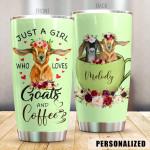 Personalized Goat Tumbler Trust A Girl Loves Goat And Coffee Tumbler Cup Stainless Steel Tumbler, Tumbler Cups For Coffee/Tea, Great Customized Gifts For Birthday Christmas Perfect Gift For Goat Lovers