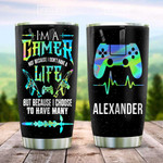 Personalized Name Hologram Color Gamer Stainless Steel Tumbler, Tumbler Cups For Coffee/Tea, Great Customized Gifts For Birthday Christmas Thanksgiving