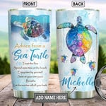 Sea Turtle Ocean Personalized Tumbler Cup Advice From Sea Turtle Trust The Flow Colorful Turtle Stainless Steel Vacuum Insulated Tumbler 20 Oz Great Gifts For Birthday Christmas Thanksgiving
