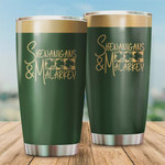 Patrick Day Tumbler Shenanigans & Malarkey Irish St. Patrick's Day Stainless Steel Vacuum Insulated Double Wall Travel Tumbler With Lid, Tumbler Cups For Coffee/Tea, Perfect Gifts For Birthday Patrick Day
