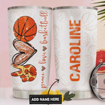 Personalized Basketball Lover Tumbler Cup Peace Love Basketball Stainless Steel Insulated Tumbler 20 Oz Best Gifts For Basketball Players Great Customized Gifts For Birthday Christmas Thanksgiving