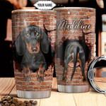 Personalized Dachshund Break Through Tumbler Cup  Stainless Steel Vacuum Insulated Tumbler 20 Oz Tumbler For Dog Lovers Great Customized Gifts For Birthday Christmas Thanksgiving Coffee Tumbler