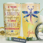 Blue Dragonfly Personalized Tumbler Cup A Dream Doesn't Become Reality Yellow Stainless Steel Insulated Tumbler 20 Oz Best Gifts For Birthday Christmas Thanksgiving Gifts For Dragonfly Lovers