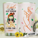 Makeup Tumbler Cup Personalized, A Smile Is Best Makeup A Girl Can Wear, Stainless Steel Vacuum Insulated Tumbler 20 Oz, Perfect Gifts For Girls, Makeup Lovers, Gifts For Birthday Christmas