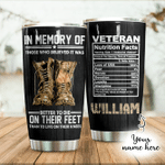 Personalized In Memory Of Vetera Facts Stainless Steel Tumbler Cup For Coffee/Tea, Great Customized Gift For Birthday Christmas Thanksgiving