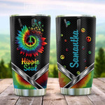 Metal Style Hippie Sunflower Tie Dye Personalized Tumbler Cup Hippie Soul Stainless Steel Vacuum Insulated Tumbler 20 Oz Great Customized Gifts For Birthday Christmas Thanksgiving Coffee Tumbler