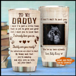 Personalized To My Daddy I Know I'm Just A Little Bump Baby's Sonogram Picture Tumbler Custom Photo Gifts For Expecting Dad From The Bump Father's Day 20 Oz Sport Bottle Stainless Steel Vacuum Insulated Tumbler