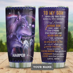 To My Son Native Wolves Personalized Tumbler Cup, Never Give Up, Purple Stainless Steel Vacuum Insulated Tumbler 20 Oz, Great Gifts For Birthday Christmas Thanksgiving, Love Mom