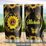 Hippie Sunflower Butterfly Personalized Tumbler Cup Living Life In Peace Stainless Steel Insulated Tumbler 20 Oz Great Customized Gifts For Birthday Christmas Thanksgiving Coffee/ Tea With Lid