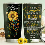 Personalized Sunflower To My Daughter I Love You From Mom Stainless Steel Tumbler, Tumbler Cups For Coffee/Tea, Great Customized Gifts For Birthday Christmas Thanksgiving
