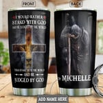 Lion Faith Cross Warrior Picture Personalized Tumbler Cup I Would Rather Stand With You Stainless Steel Vacuum Insulated Tumbler 20 Oz Great Customized Gifts For Birthday Christmas Thanksgiving