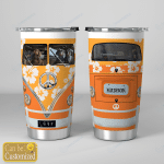 Personalized Custom Name Dog Orange Hibiscus Hippie Van Stainless Steel Tumbler, Tumbler Cups For Coffee/Tea, Great Gifts For Birthday Christmas Thanksgiving