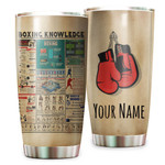 Personalized Boxing Knowledge Tumbler Best Custom Name Gifts For Sport Lovers Boxing Players 20 Oz Sport Bottle Stainless Steel Vacuum Insulated Tumbler