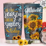 Personalized Sunflowers And Butterflies Vintage Tumbler Be The Reason Someone Smiles Today Tumbler 20 Oz Sports Bottle Stainless Steel Vacuum Insulated Tumbler