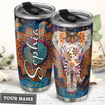 Elephant Mandala Personalized Tumbler Cup Stainless Steel Insulated Tumbler 20 Oz Best Gifts For Birthday Christmas Thanksgiving Gifts For Elephant Lovers Coffee/ Tea Tumbler With Lid