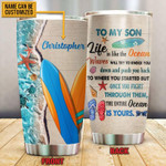 Personalized Surfboarding To My Son Life Is Like The Ocean Try Your Best Stainless Steel Tumbler, Tumbler Cups For Coffee/Tea, Great Customized Gifts For Birthday Christmas Thanksgiving