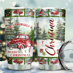 Red Truck Have Your Self  A Merry Little Christmas Personalized Tumbler Cup Stainless Steel Vacuum Insulated Tumbler 20 Oz Best Christmas Gifts Birthday Gifts Tumbler For Coffee/Tea With Lid