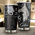 Personalized Jewerly Advice from A Horse Tumbler Stainless Steel Vacuum Insulated Double Wall Travel Tumbler with Lid Tumbler Cups for Coffee/Tea Gifts for Horse Lover On Birth Day Christmas
