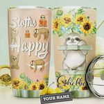 Sunflowers Sloth Personalized, Sloths Happy, Stainless Steel Tumbler, 20 Oz Insulated Tumbler Cup, Pink Tumbler, Perfect Gifts For Sloth Lovers On Birthday Christmas Tumbler For Coffee/ Tea