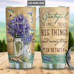 Hummingbird Lavender Personalized Quote Tumbler Cup Grateful For Small Things Stainless Steel Vacuum Insulated Tumbler 20 Oz Great Gifts For Birthday Christmas Thanksgiving Coffee/ Tea Tumbler