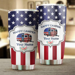 Personalized Custom American Flag Camping Happy Camper Stainless Steel Tumbler, Tumbler Cups For Coffee/Tea, Great Customized Gifts For Birthday Christmas Thanksgiving