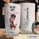 Personalized Faith Black Girl Tumbler Cup You Are God's Masterpiece Stainless Steel Insulated Tumbler 20 Oz Great Gifts For Birthday Christmas Thanksgiving Gifts For Friends Relatives