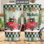 Christmas Red Truck Personalized Tumbler Cup Stainless Steel Vacuum Insulated Tumbler 20 Oz Best Gifts For Trucker Coffee/ Tea Tumbler With Lid Great Christmas Gifts Tumbler Travel