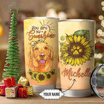 Personalized Golden Retriever Sunflowers Tumbler You Are My Sunshine Tumbler Best Gifts For Dog Lovers, Pet Lovers 20 Oz Sports Bottle Stainless Steel Vacuum Insulated Tumbler