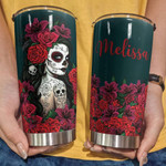 Personalized Skull Girl Flowers Custom Name Stainless Steel Tumbler, Tumbler Cups For Coffee/Tea, Great Customized Gifts For Birthday Christmas Thanksgiving