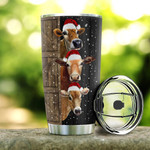 Personalized Farm Cow Brown Cows Wearing Santa Hat Stainless Steel Tumbler, Tumbler Cups For Coffee/Tea, Great Customized Gifts For Birthday Christmas Thanksgiving