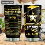 Personalized US Army Veteran Tumbler Cup Veteran Nutrition Facts  Stainless Steel Vacuum Insulated Tumbler 20 Oz Great Gifts For Birthday Christmas Thanksgiving Best Gifts For Army Soldiers