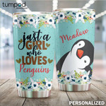 Personalized Girl Loves Penguins Custom Name Stainless Steel Tumbler, Tumbler Cups For Coffee/Tea, Great Customized Gifts For Birthday Christmas Thanksgiving