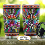 Hippie Pattern Personalized Tumbler Cup Get Your Happy On Stainless Steel Vacuum Insulated Tumbler 20 Oz Great Customized Gifts For Birthday Christmas Thanksgiving Coffee/ Tea Tumbler