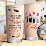 Personalized Lipstick Girl She Can Conquer The World Stainless Steel Tumbler, Tumbler Cups For Coffee/Tea, Great Customized Gifts For Birthday Christmas Thanksgiving