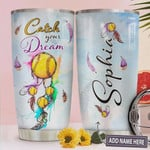 Softball Dreamcatcher Personalized, Stainless Steel Tumbler, Catch Your Dream, 20 Oz Insulated Tumbler Cup, Tumbler Cups For Coffee/Tea, Perfect Gifts For Softball Lovers on Birthday Christmas